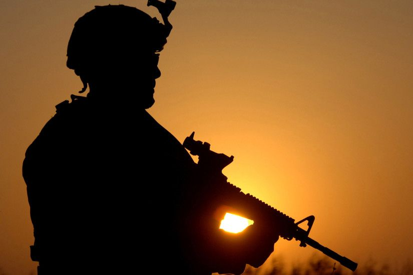 Free American Soldier At Sunset, computer desktop wallpapers, pictures,  images