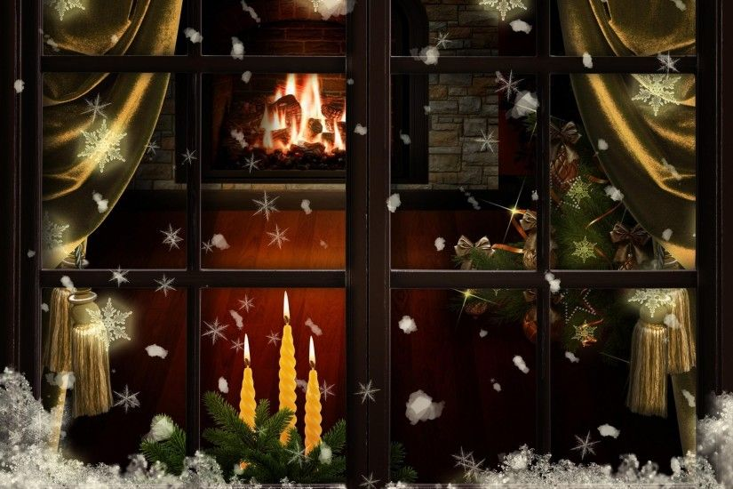 2560x1900 Wallpaper window, fireplace, candles, christmas tree, cozy,  christmas