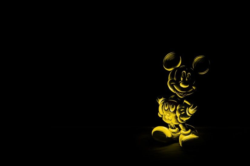Preview wallpaper cartoon, black background, character, mickey mouse, mouse  3840x2160