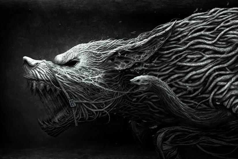 2560x1600 Wallpaper wolf, teeth, drawing, aggression, black, white