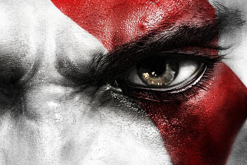 Preview wallpaper kratos, god of war, face, eyes, scar 2048x2048