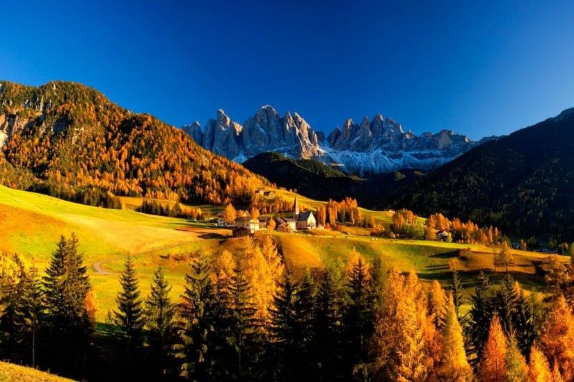 Mountain Village Autumn Hills Peaceful Rocks Vilalge Sky Nice Italy Trees  Nature Fall Lovely Houses Beautiful Cliffs Peaks Dolomited Forest Wallpapers  - ...
