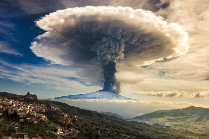 General 1920x1200 volcano eruptions nature landscape mountains mushroom  clouds clouds