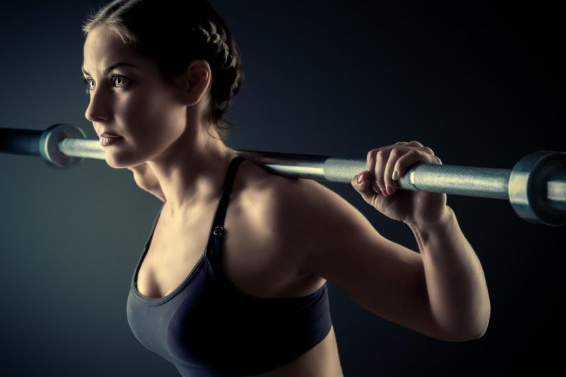 Fitness gym girl barbell wallpaper.