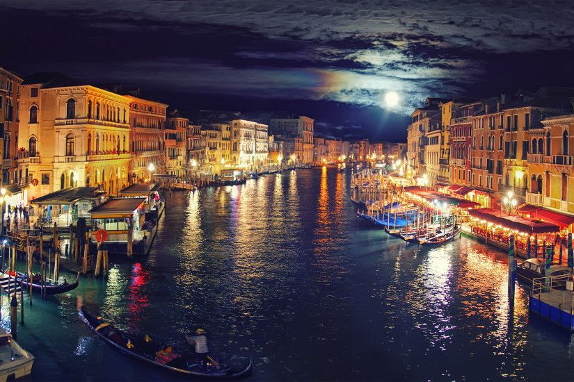 Italy Venice Grand Canal night reflection wallpaper background