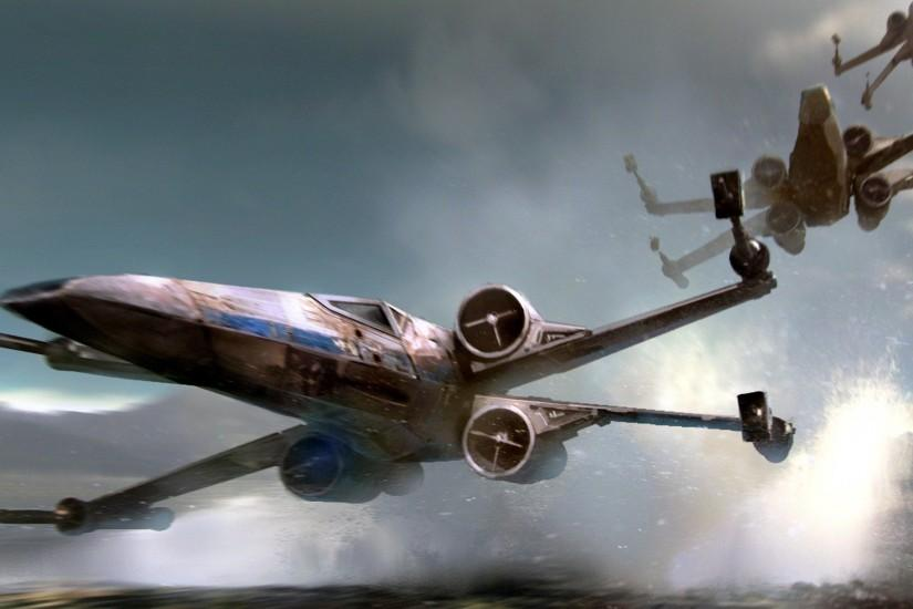 Star Wars, Episode Seven VII: The Force Awakens. X-wings skim the watery  surface by Chris Rosewarne.