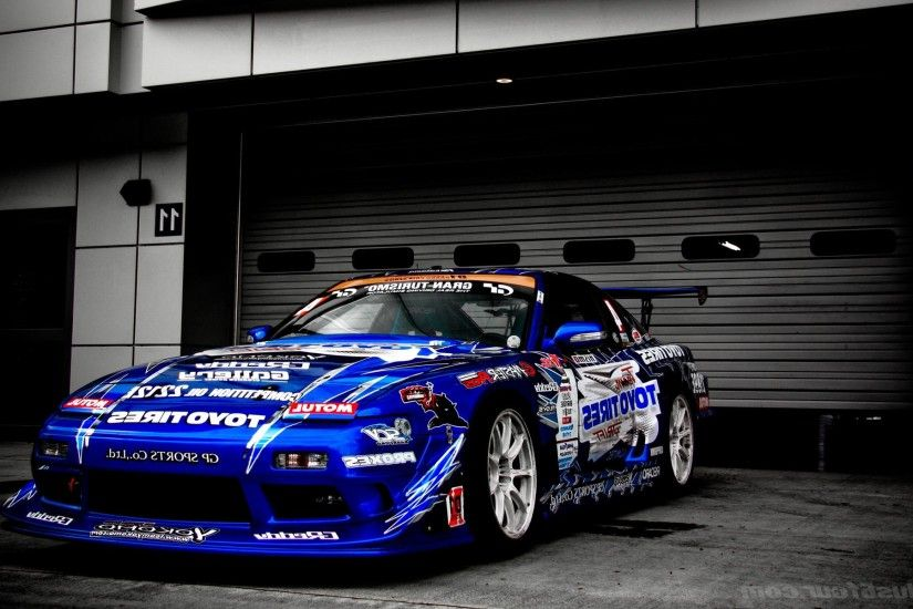 Nissan Tuning Race Cars Blue Selective Coloring Vehicle