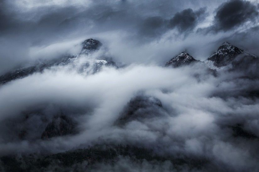 #forest, #mist, #snowy peak, #landscape, #dark, #clouds, #storm, #trees,  #mountains, #nature, wallpaper