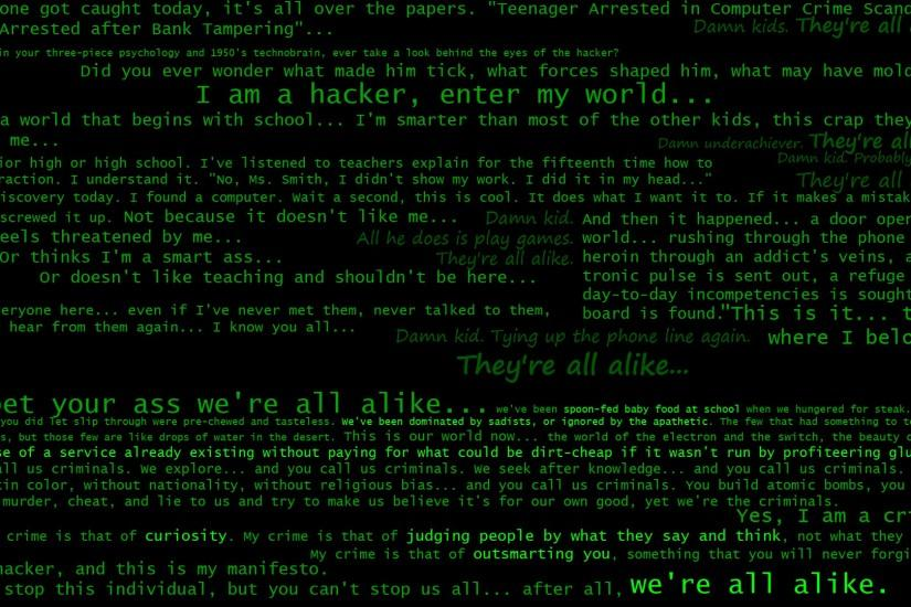 quotes hackers manifesto black background green text #653404