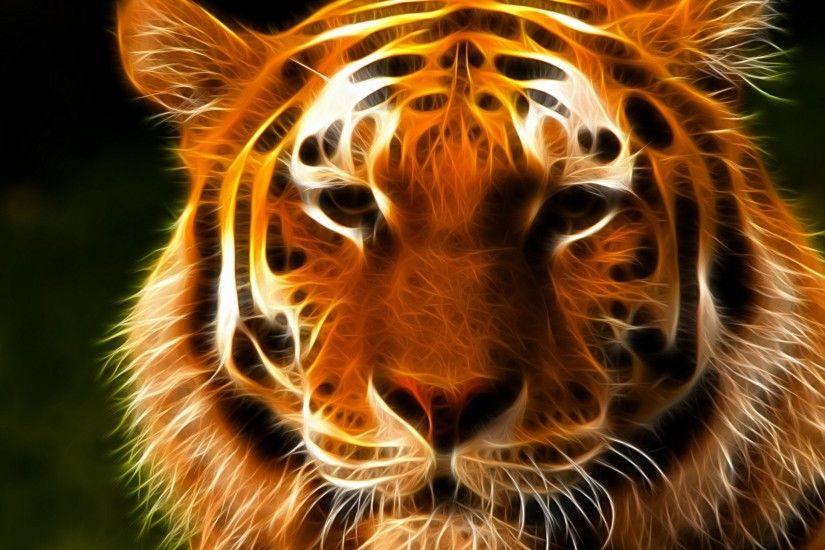 Digital Art Fantasy Tiger Face