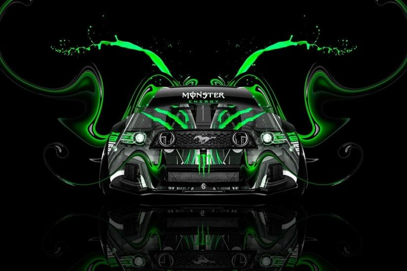1920x1080 tony kokhan monster energy logo ford mustang gt muscle car front  green aerography tuning acid