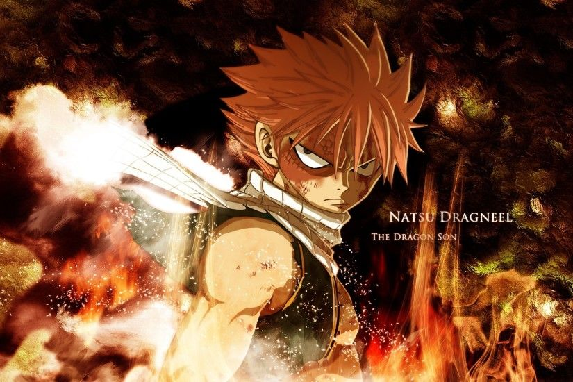 Preview wallpaper fairy tail, natsu dragneel, boy, look, fire 3840x2160