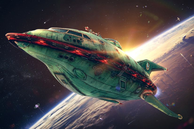 Futurama Planet Express 3D space ship wallpaper, realistic Futurama  delivery ship, CGI animation film