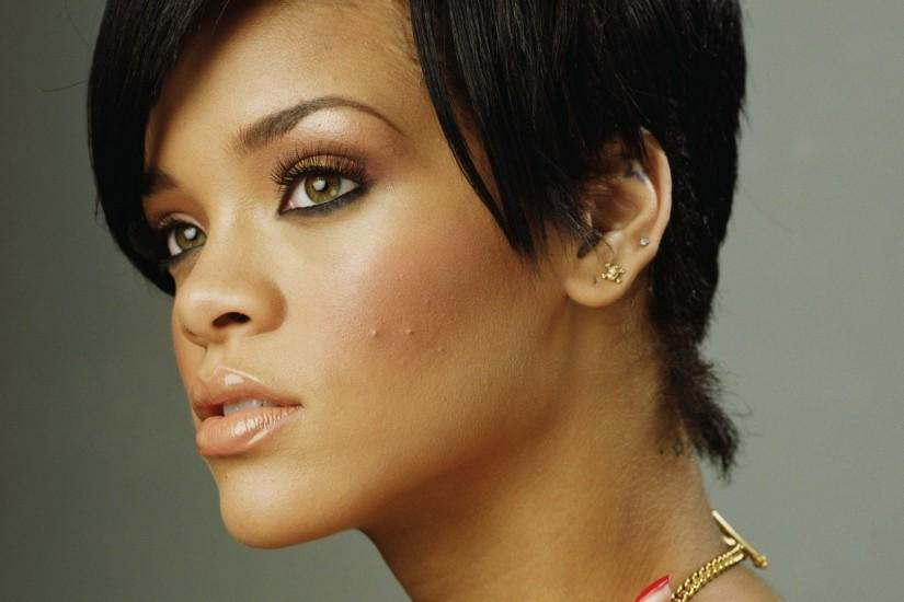 Preview wallpaper rihanna, singer, face, brunette, side view 1920x1080