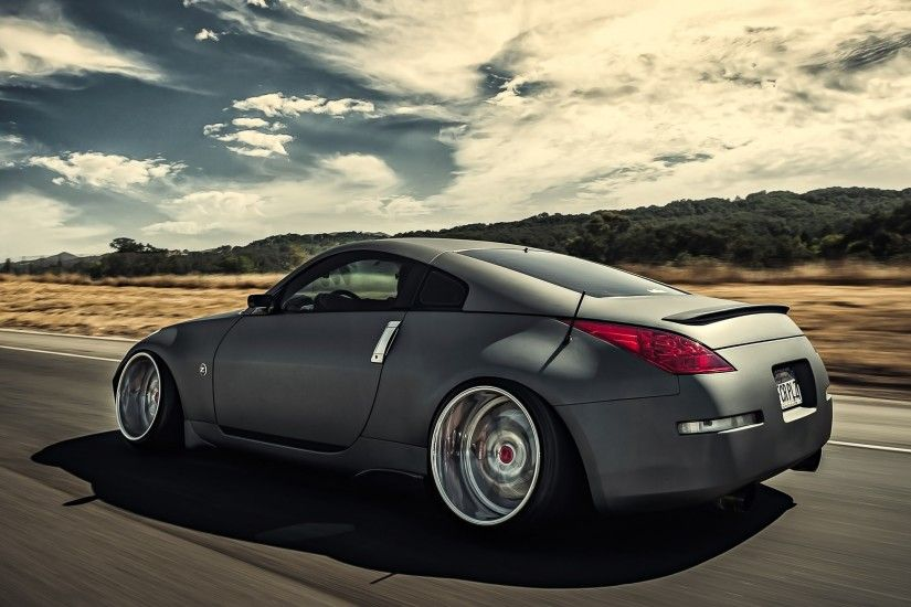 Preview wallpaper nissan, 350z, stance, movement, speed, side view 2560x1440