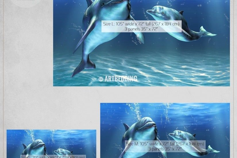 ... Dolphins Wall Mural, Dolphins Self Adhesive Peel & Stick Photo Mural, Dolphins  wallpaper wall
