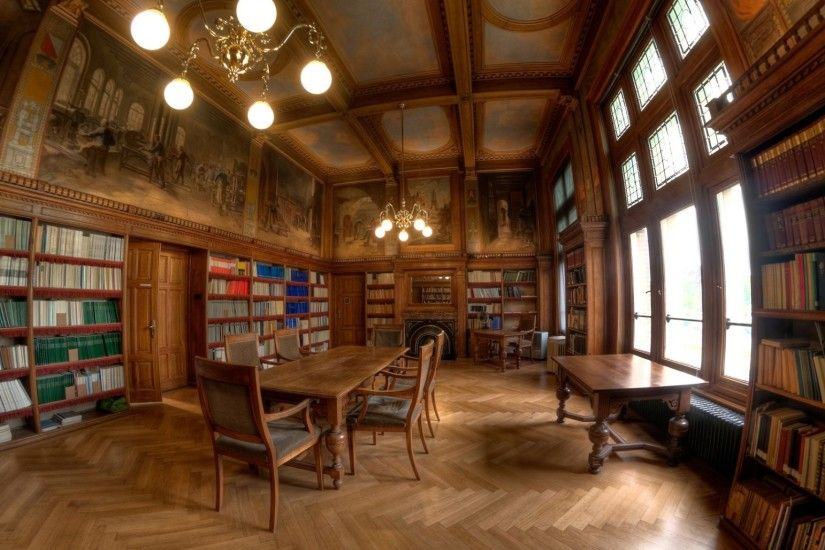 2048x1152 Wallpaper library, style, table, books, wooden