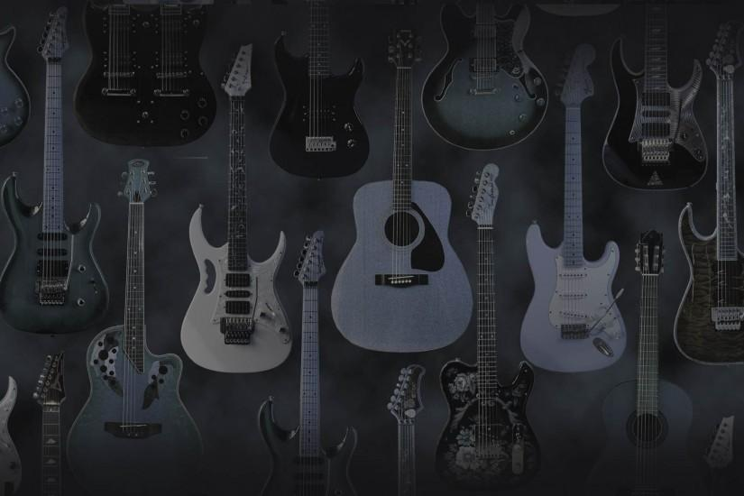 Dual monitor widescreen wallpaper, electric and acoustic guitars
