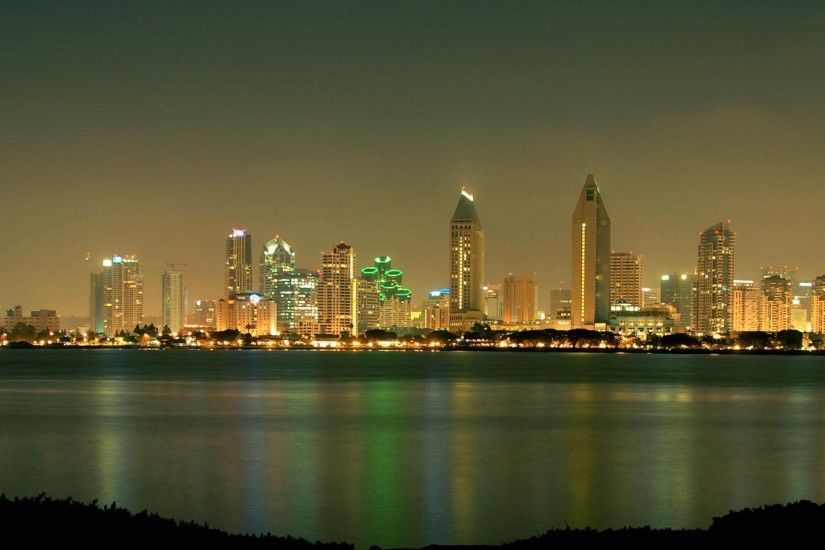 2560x1440 Wallpaper san - diego, california, usa, skyscrapers, night, beach