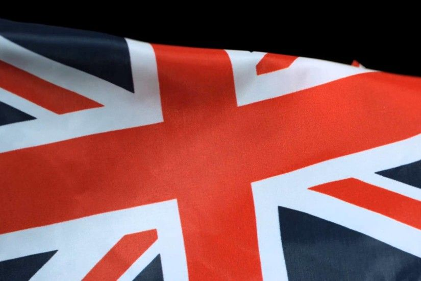 UK Flag Flying Slow Motion United Kingdom Union Jack Waving on High Speed  Video Camera in Slowmo HD
