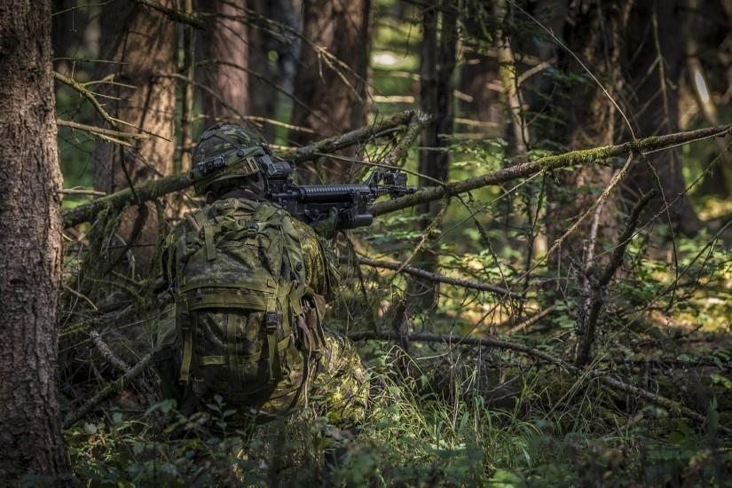 men, Soldier, Rifles, Assault Rifle, Forest, Military, Camouflage Wallpaper  HD