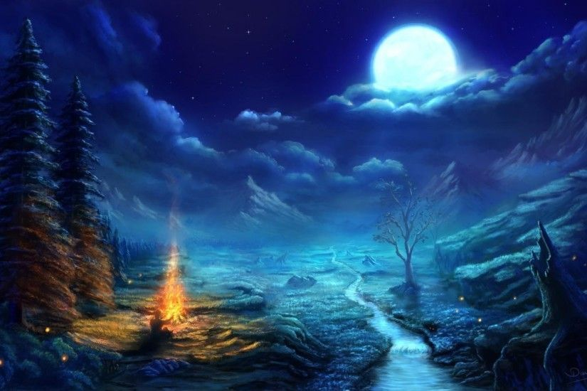 Clouds trees night stars moon campfire skies wallpaper | (68473)