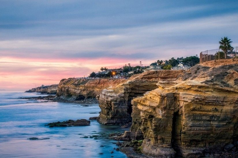 1920x1080 Ocean Cliffs Houses San Diego