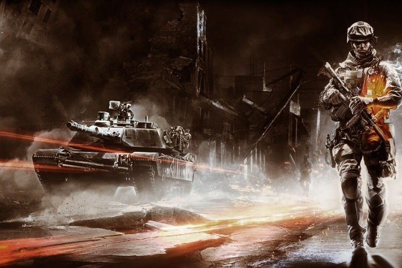 2560x1080 Wallpaper battlefield, soldier, city, tank, destruction
