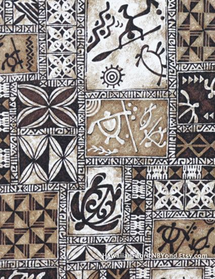 Polynesian tapa fabric: Petroglyphs, tribal tattoo, island warriors and sea  turtles. Cotton