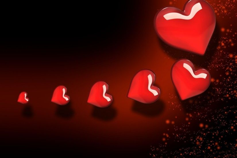 Background Red Hearts