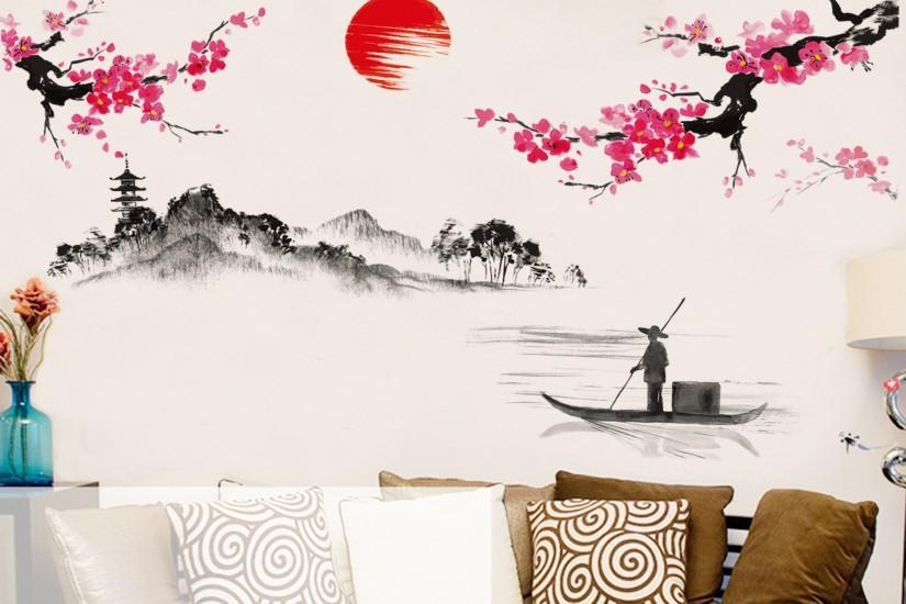 120*150cm Diy Chinese Style Red Plum Flower Vintage Poster Wall Sticker  Tree Stickers Wallpaper Wallstickers for Kids Rooms Art