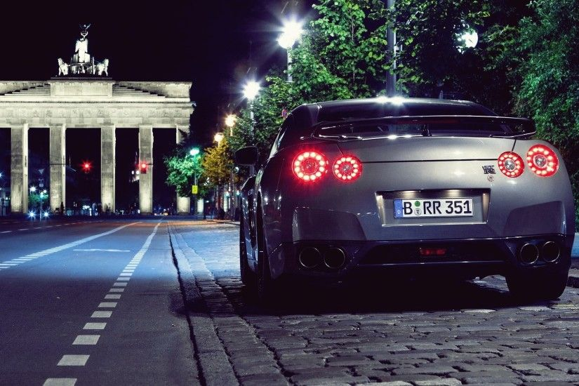 Berlin Brandenburg Gate Cars GTR Night Nissan Gtr35 R35 GT-R Roads Vehicles  ...