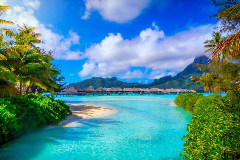 Bora Bora, French Polynesia, Nature, Landscape, Beach, Sea, Palm Trees,  Island, Resort, Summer, Tropical, Mountain Wallpapers HD / Desktop and  Mobile ...