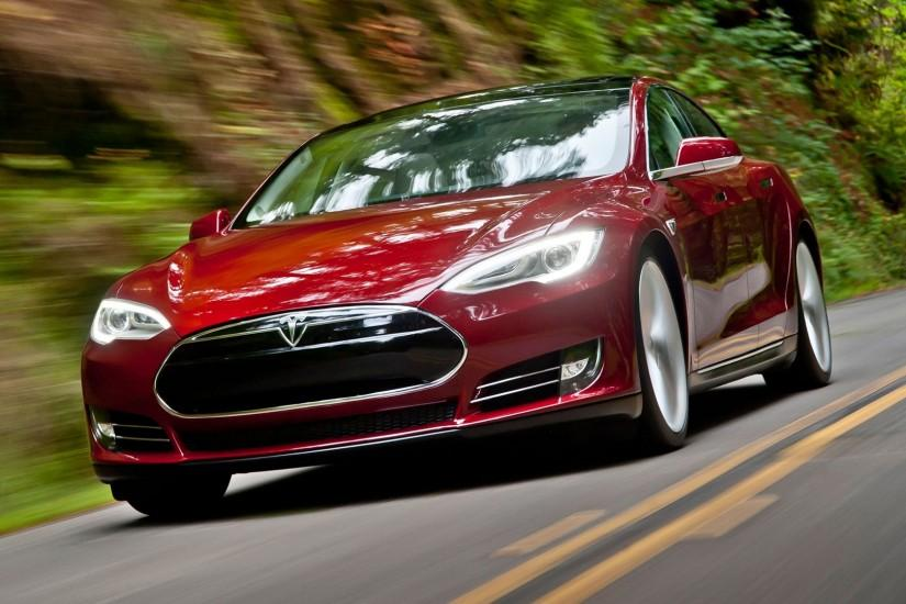 Preview wallpaper tesla, model s, tesla model s, red 3840x2160