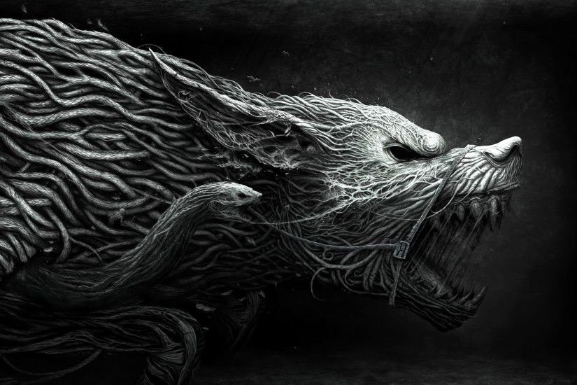 Dark - Werewolf Dark Animal Fantasy Creature Snake Black Creepy Wallpaper