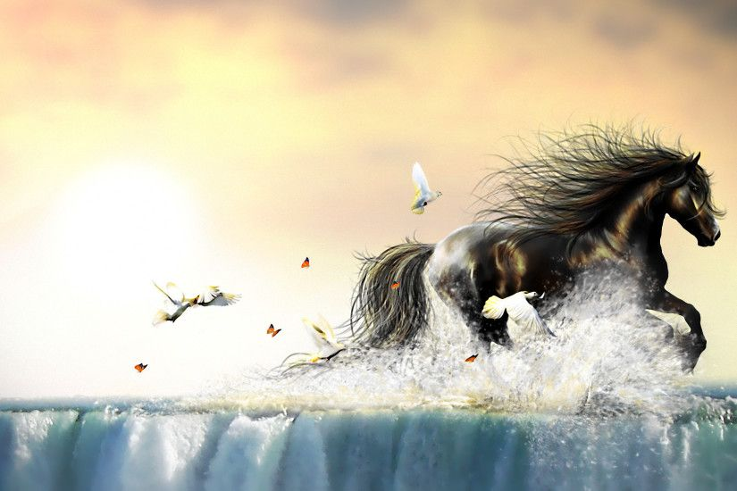 Artistic - Other Artistic Animal CGI Horse Sea Water Bird Dove Wallpaper