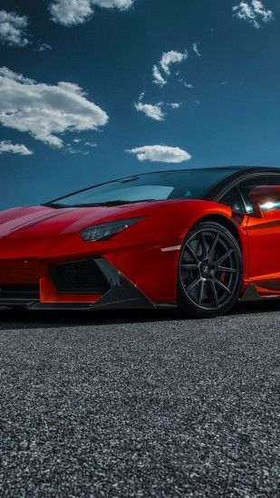 Preview wallpaper lamborghini, aventador-v, lp 740-4, red, side