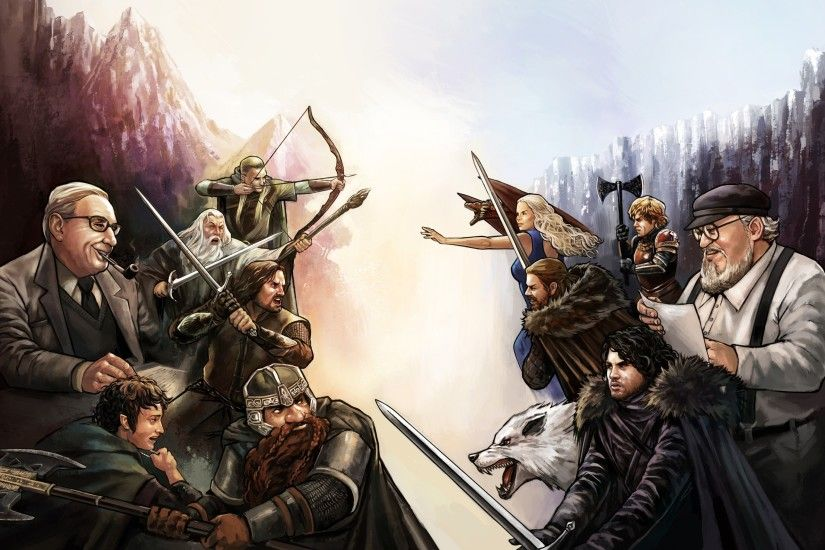 Game Of Thrones, The Lord Of The Rings, George R. R. Martin, J. R. R.  Tolkien, Jon Snow, Gimli, Frodo Baggins, Aragorn, Gandalf, Daenerys  Targaryen, ...