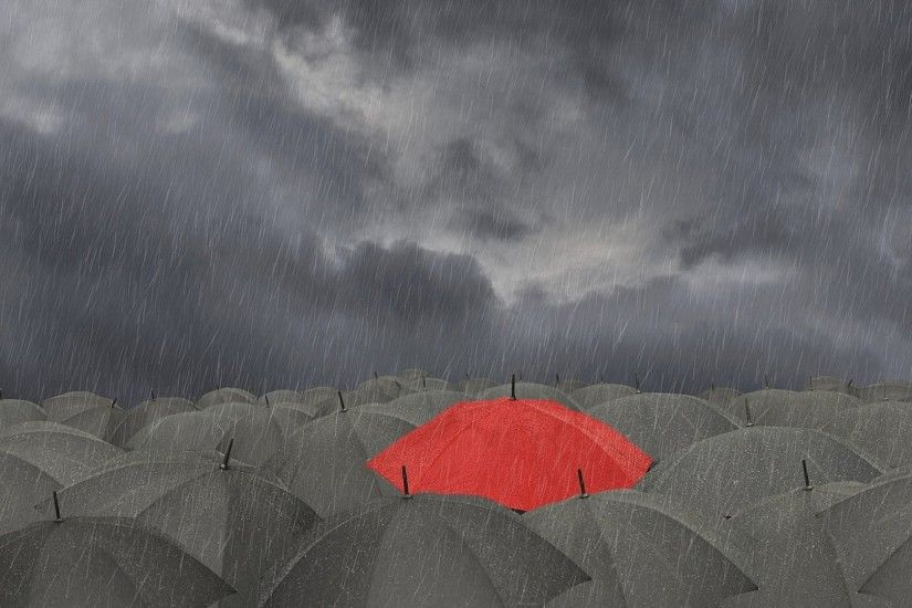 cute red dark umbrella rain HD wallpapers