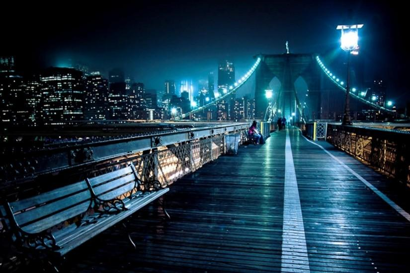 Walkway On Top Of Brooklyn Bridge At Night Hd Desktop Background