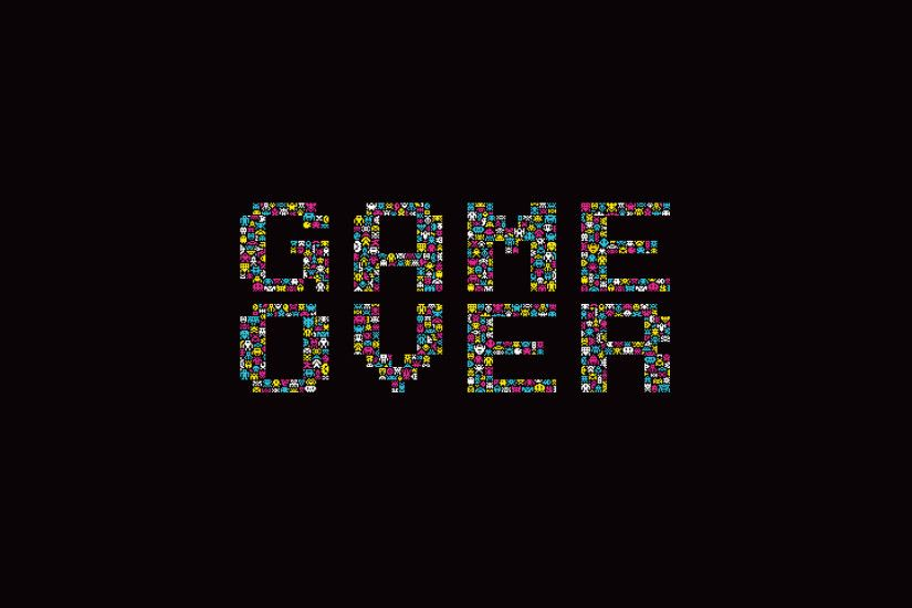 Dark Background Game Over Minimalistic Retro Games Simple Space Invaders  Typography Video