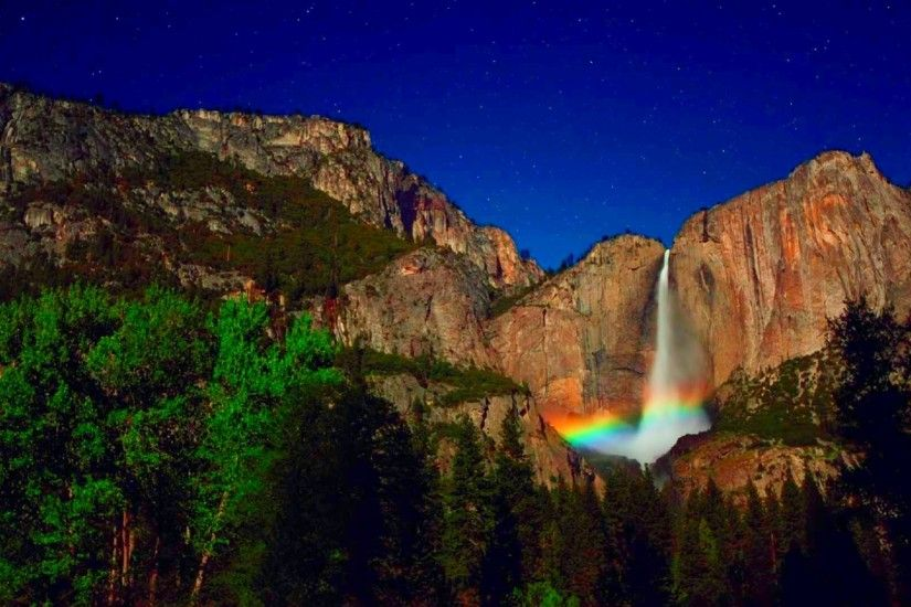 Waterfalls - Falls Stars Rainbow Night Sky Trees Mountain Yosemite Starry  Waterfall Wallpaper For Mobile for