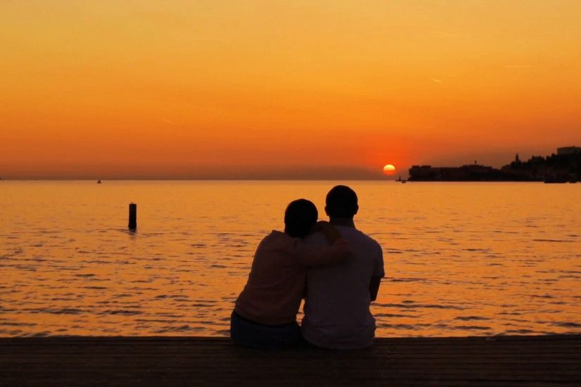 Couple, sea beach, sunset
