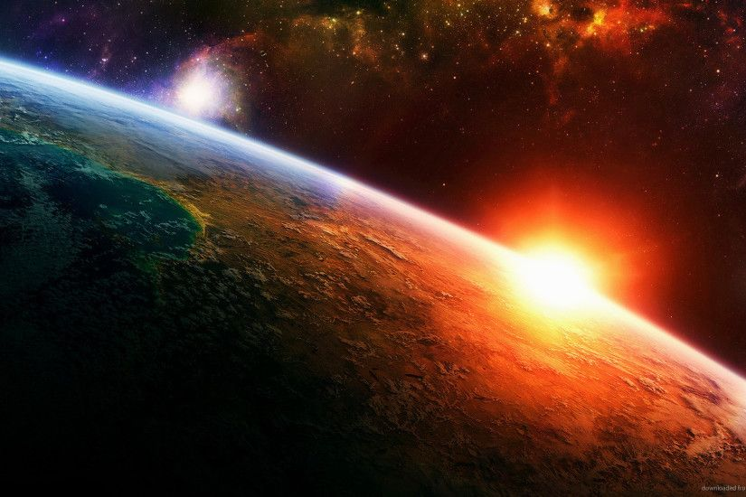 1366x768 Planetary Sunrise with awesome Space View wallpaper