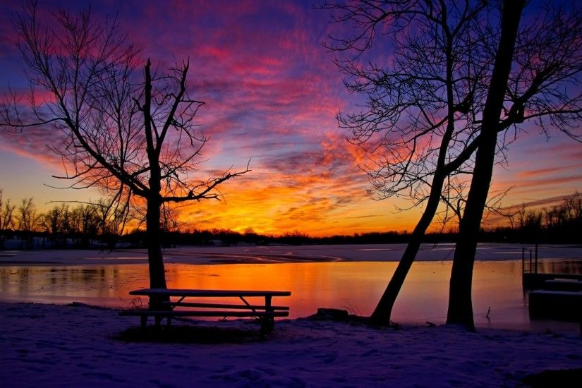 Winter Sunset Desktop Wallpaper