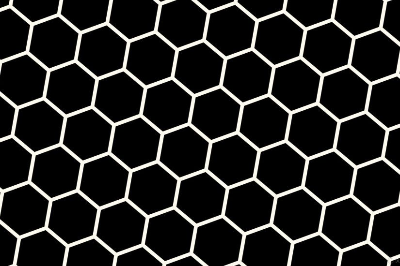 wallpaper beehive white honeycomb hexagon black floral white #000000  #fffaf0 diagonal 50° 15px