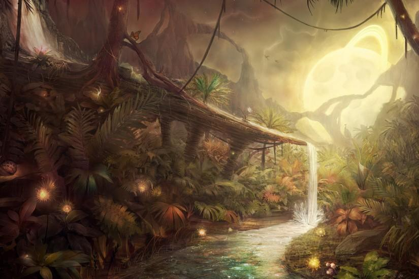 nature, Jungles, Artwork, Fantasy Art, Concept Art, Water, Moon,