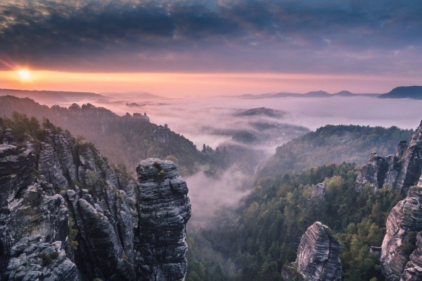 Preview wallpaper morning, forest, fog, rocks, mountains, sunrise 1920x1080