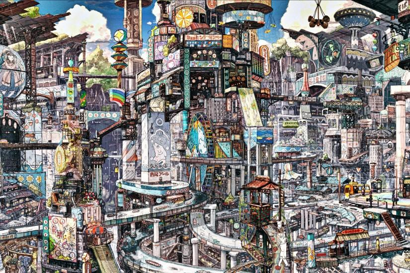 ... Anime City Scenery Wallpaper Picture Background ...