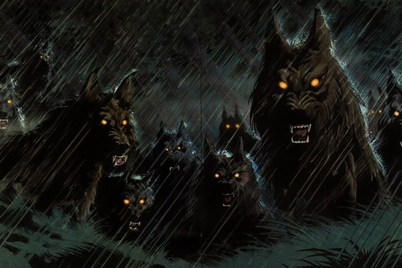 dark werewolf hellhound animals wolf wolves fangs demons evil fantasy .